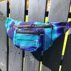 Handbags - Knitted Blue Patterned 3 Pocket Fanny Pack
